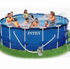 Бассейн INTEX круглый Metal Frame 366×99 см (фильтр+лестница)