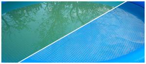 Вода в бассейне до применения химии и после